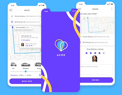 Web & mobile UI design: Ride-sharing app
