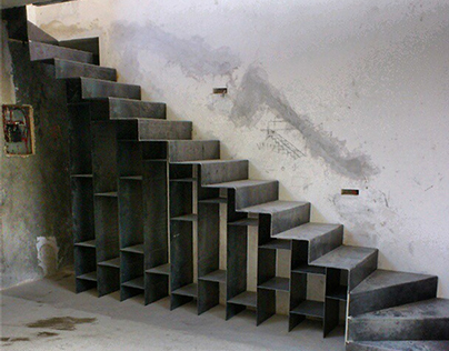 steel stair bookshelf
