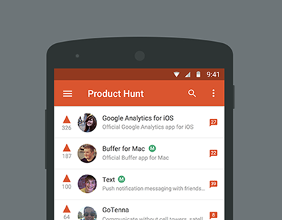 Product Hunt for Android Mockup