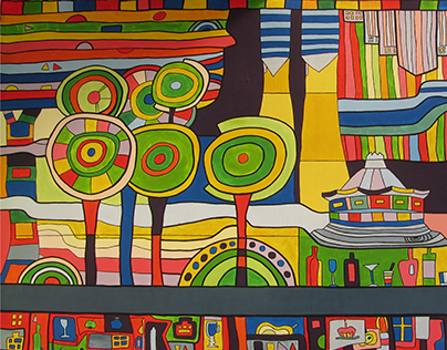 "Painting on the wall for event-cafe ""Hundertwasser"""