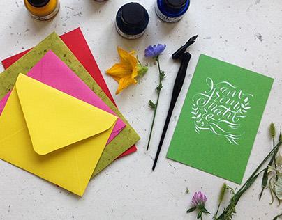 Calligraphy postcards