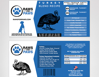 Raws for Paws - Pet Food - Product Label