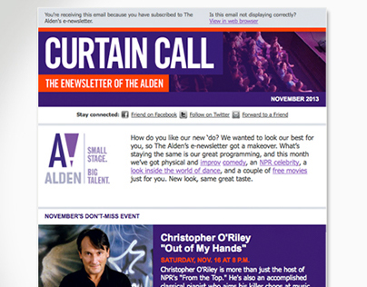 """Curtain Call"" Monthly Email News"