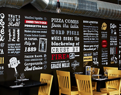 I Love Crust - Hand rendered typographic wall mural