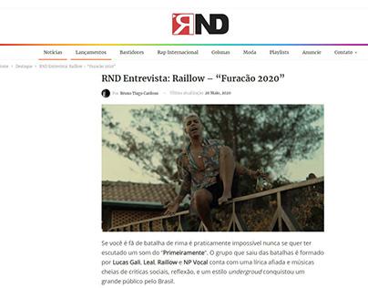 """RND Entrevista: Raillow – """"Furacão 2020"""""""