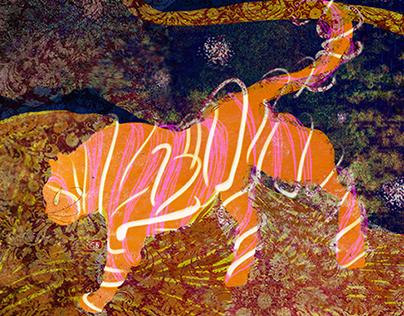 Tiger lurking on nebula