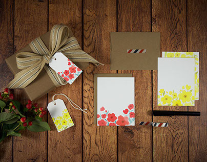 Watercolor Wild Flowers Stationery & Gift Tag Set