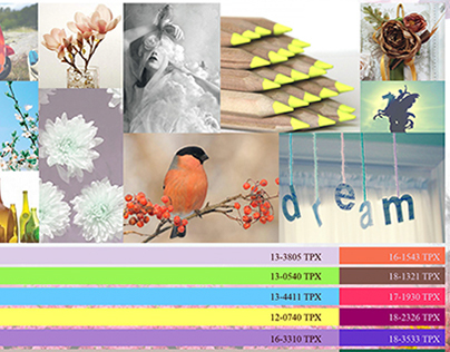 Fashion theme boards and design sheets for spring.