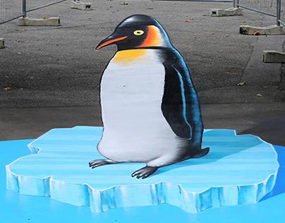 Penguin on melting ice