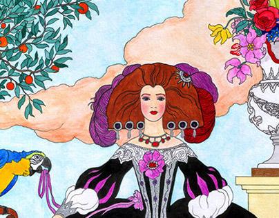 Infanta Isabel de Lara Medina Sidonia with her parrot
