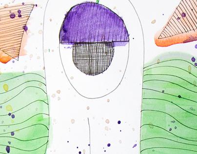 Watercolor + Pen