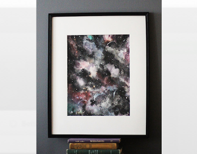 Galaxy Watercolor Painting by Lisa Clow