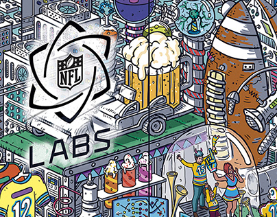 ILLUSTRATED MURAL FOR NFL LAB.