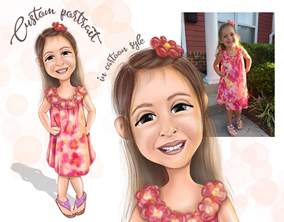 Digital cutom child portrait in cartoon style.