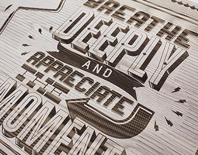 Lululemon Wood Engraved Type