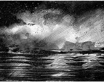 """ink illustration, collection """"black lands"""""""
