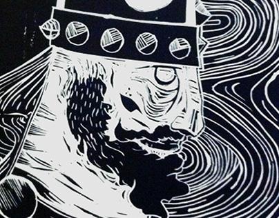 Viking lino print
