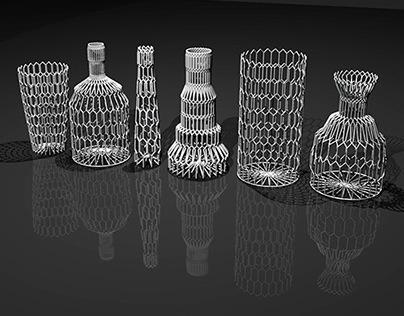 Wireframe Vase Set