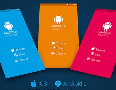 Freebie - Android L / iPhone 6 Plus App Mockup