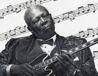 Graphite Pencil BB King Tribute Portrait by Julio Lucas