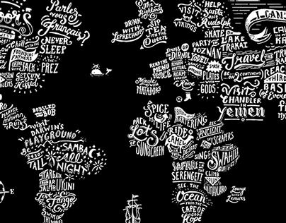 World Map Lettering Illustration