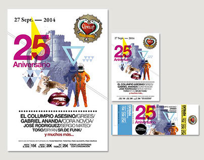 Camelot 25th Aniversari. Poster, flyer and entrance
