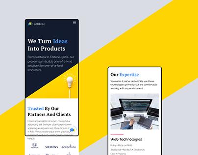 Website design for Addval Labs