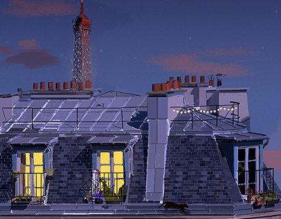 One Cat's Animated Adventure in Paris / Gif