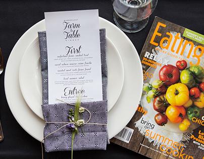 Farm to Table Dinner Menu Design