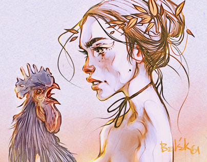 girl with a black rooster