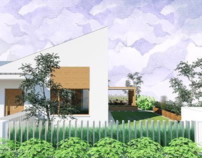 Niewielki nowoczesny ogród z interesującą architekturą