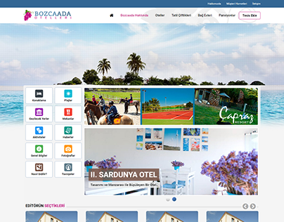Bozcaada Otelleri Front-End Responsive CSS/HTML Kodlama