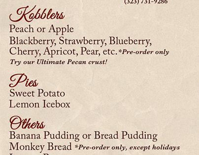 Kobbler King menu