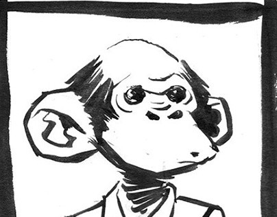 Sketchy monkeys in ink