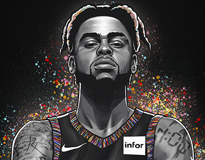 NBA D'ANGELO RUSSELL BDAY ILLUSTRATION - BROOKLYN NETS