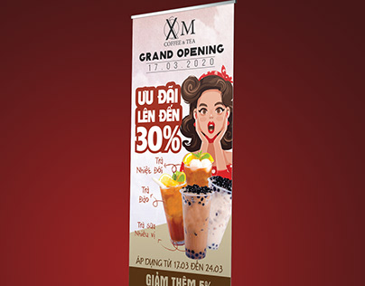 XOM COFFEE GRAND OPENING STANDEE