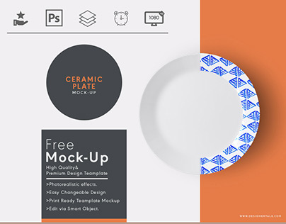 Top view ceramic plate psd mock up template