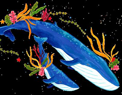 Ballena azul y cría decorativo