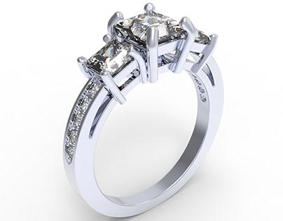 Engagement Ring 3D CAD Model - CC52 3D print model