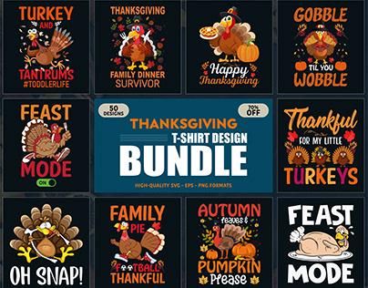 Thanksgiving T-Shirt Designs Bundle