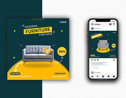 Modern furniture for sale social media post template