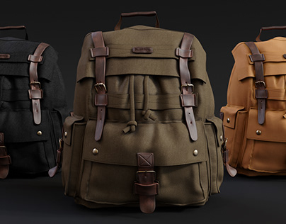 Kattee Canvas Leather Backpack 3d Model
