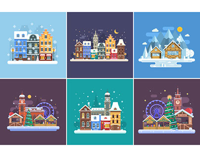 Winter Towns and Streets Flat Landscapes