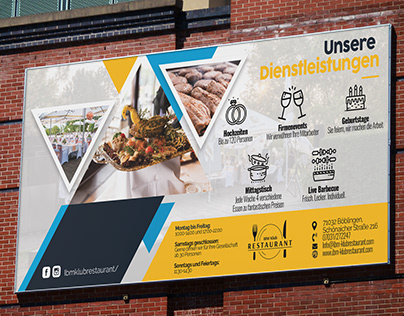 Billboard Design. IBM Klub Restaurant Böblingen, German