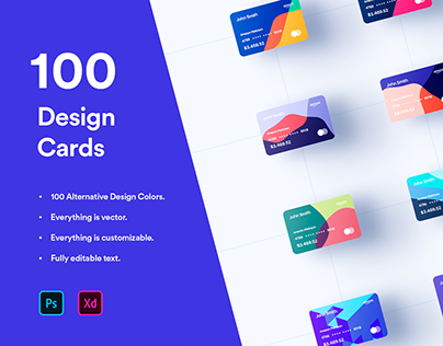100 Financial Virtual Design Cards - PSD & XD