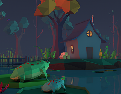 Low-Poly Swamp and House Project