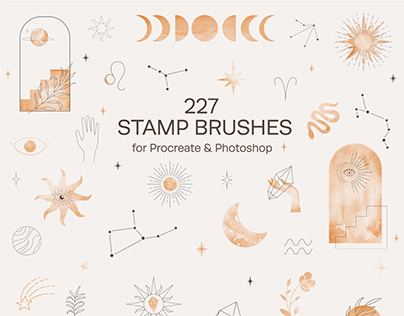 Celestial Stamp Brushes for Procreate & Photoshop
