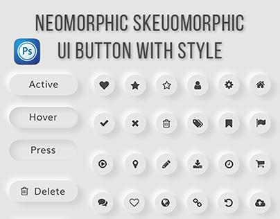 Neomorphic Skeuomorphic Button UI