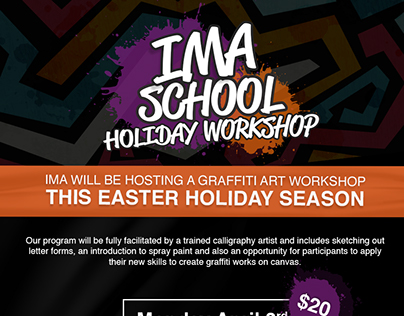 IMA School Holiday Workshop Branding for IMA