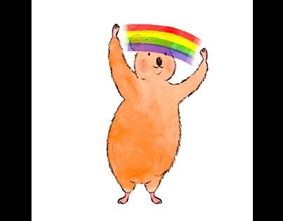 Quokka and a Rainbow Animated gif